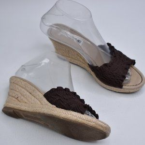 American Eagle Brown Fabric Espadrilles Wedges 6 M